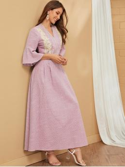 Modest A Line Striped Flared Regular Fit V neck Three Quarter Length Sleeve Flounce Sleeve Natural Pink Maxi Length Embroidery Front Pleated Detail Striped Dress