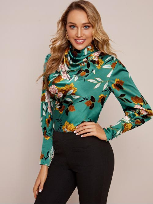 Elegant Floral and All Over Print Top Regular Fit Cowl Neck Long Sleeve Bishop Sleeve Pullovers Green Regular Length Cowl Neck Buttoned Cuff Floral Print Satin Top