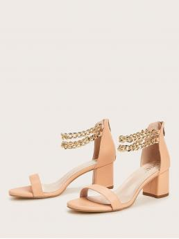 Clearance Apricot Strappy Sandals Chain Mid Heel Decor Heels