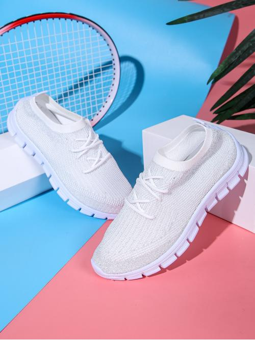 Trending now White Round Toe Low-top Fabric Front Low Cut Knit Sneakers