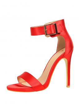 Pretty Red Strappy Sandals Ultra High Heel Chunky Stiletto Heeled Sandals