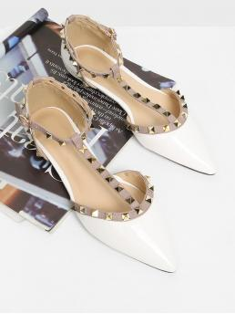 Comfort Point Toe T strap and Ankle Strap White T-strap Studded Ballet Flats