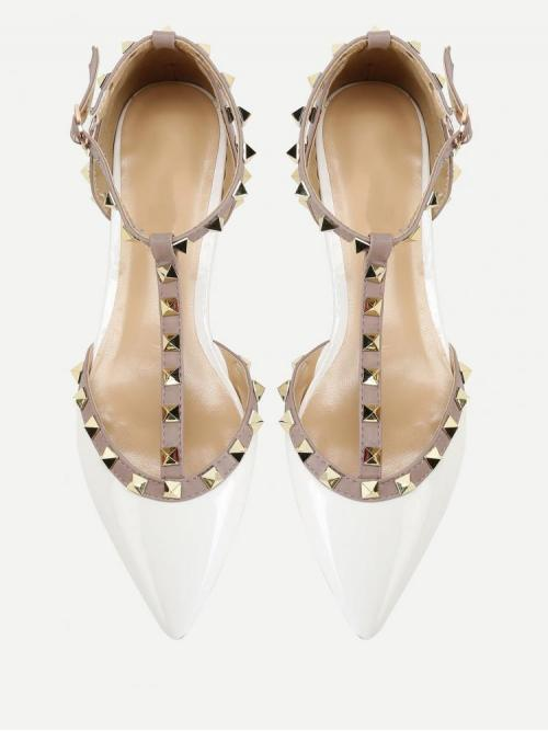 Fashion Corduroy White Ballet Spiked T-studded Flats