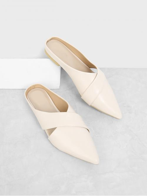 Clearance Cotton Apricot Mules Glitter Cross Strap Pointed Toe Mule Flats