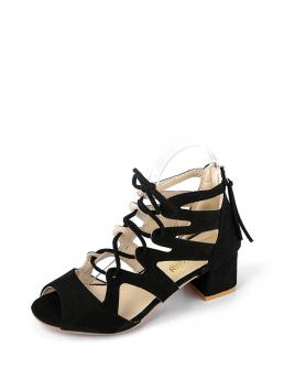Business Casual Peep Toe Lace Up Black High Heel Cut Out Lace Up Block Heels