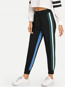 Black Natural Waist Drawstring Striped Side Pants Discount
