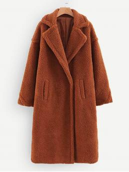 Casual Coat Pocket Plain Regular Fit Collar Long Sleeve Brown Long Length Pocket Front Teddy Coat