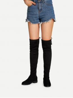 Sock Boots Round Toe Plain No zipper Black Over The Knee Plain Boots