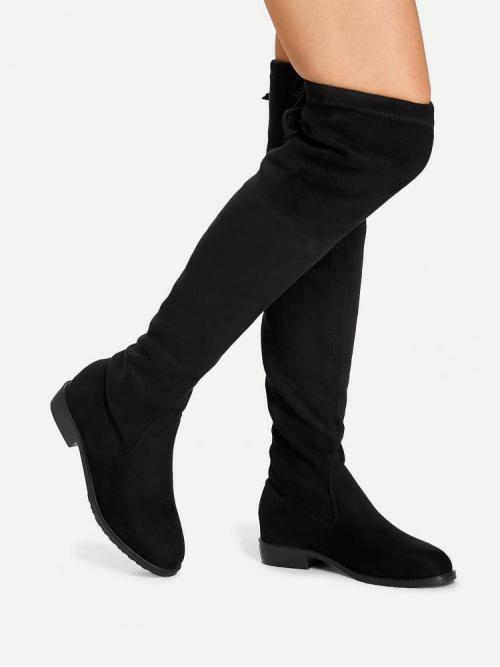 Tweed Black Stretch Boots Raw Hem over the Knee Boots Pretty