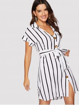 Casual Shirt Striped Asymmetrical Loose Collar Short Sleeve Natural Black and White Short Length Striped Button Through Belted Shirt Dress with Belt
