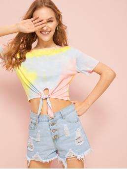 Casual Tie Dye Regular Fit Round Neck Short Sleeve Pullovers Multicolor Crop Length Tie Dye Knot Hem Tee