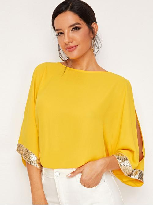 Casual Plain Top Regular Fit Round Neck Three Quarter Length Sleeve Pullovers Yellow Regular Length Split Sleeve Contrast Sequin Top