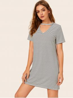 Casual Tee Striped Straight Loose Keyhole Neckline Short Sleeve Natural Black and White Short Length Striped Choker Neck Tee Dress