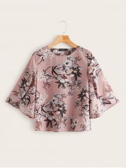 Boho Floral Top Regular Fit Round Neck Three Quarter Length Sleeve Flounce Sleeve Pullovers Pink Regular Length Floral Print Split Sleeve Top