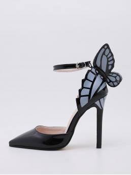Pretty Black Ultra High Heel Stiletto Point Toe Butterfly Graphic Pumps