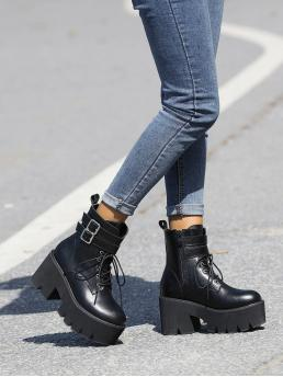 Fashion Black Combat Boots Buckle High Heel Decor Lace up Front Combat Boots