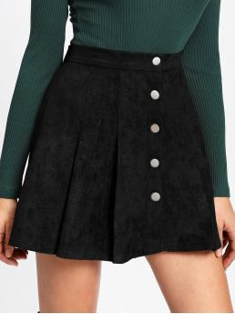 Womens Black High Waist Button Flared Single Breasted Suede