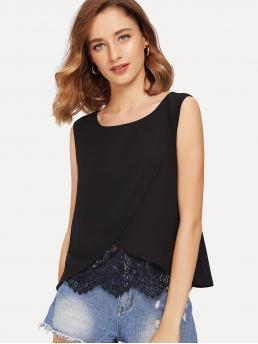 Casual Tank Plain Regular Fit Round Neck Black Regular Length Lace Insert Wrap Front Top with Lining