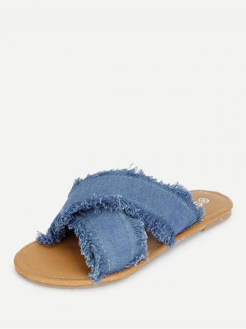Corduroy Blue Gladiator Sandals Studded Raw Trim Criss Cross Flats Ladies