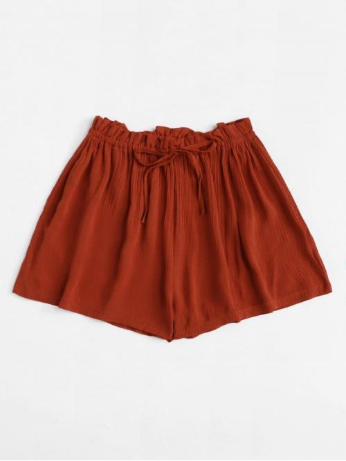 Womens Burgundy Natural Waist Lace up Wide Leg Solid Shorts