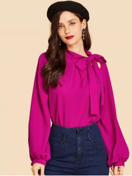 Pretty Long Sleeve Top Button Mesh Neon Bishop Sleeve Top