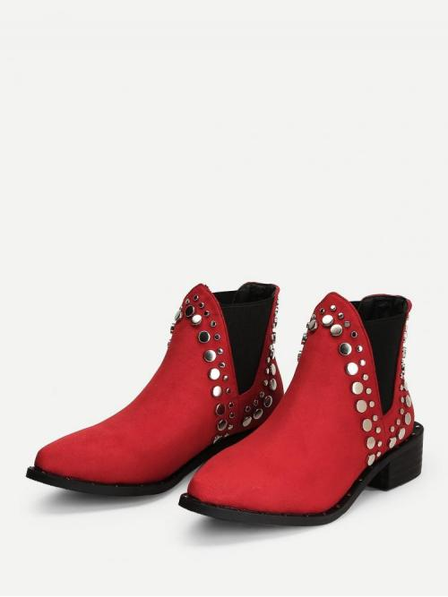 Polyester Red Chelsea Boots Studded Panel Chelsea Fashion