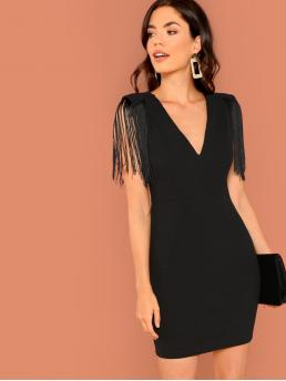Black Plain Fringe V Neck Embellished Plunging Bodycon Dress Shopping