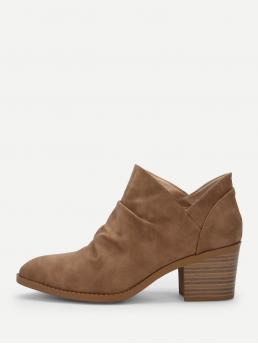 Business Casual Other Point Toe Plain No zipper Camel Mid Heel Chunky Plain Ruched Detail Western Ankle Boots