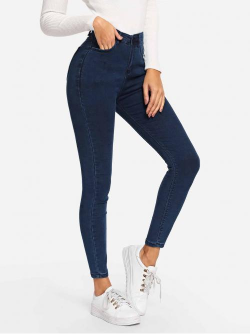 Casual Plain Skinny Skinny Button Fly High Waist Navy Cropped Length Stretch Skinny Jeggings