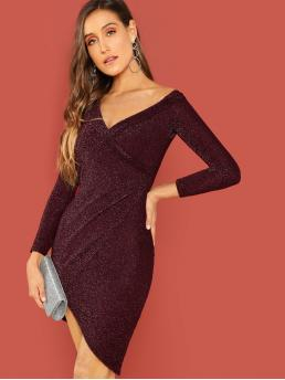 Glamorous Bodycon Plain Asymmetrical Slim Fit Asymmetrical Neck Long Sleeve Regular Sleeve Natural Burgundy Midi Length Foldover Surplice Neck Wrap Glitter Dress
