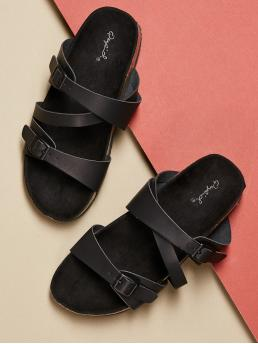 Casual Open Toe Strappy Black Blackout Twin Buckle Cork Footbed Slip On Sandals