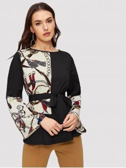Casual Chain Print Top Regular Fit Round Neck Long Sleeve Pullovers Multicolor Regular Length Contrast Chain Print Self Tie Blouse with Belt