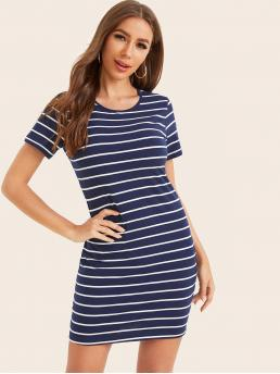 Casual Bodycon Striped Slim Fit Round Neck Short Sleeve Regular Sleeve Natural Navy Short Length Short Sleeve Striped Bodycon Dress