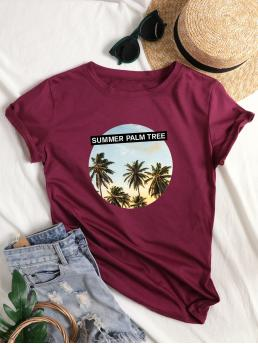 Casual Letter and Tropical Regular Fit Round Neck Cap Sleeve Pullovers Burgundy Regular Length Tropical & Letter Print Tee