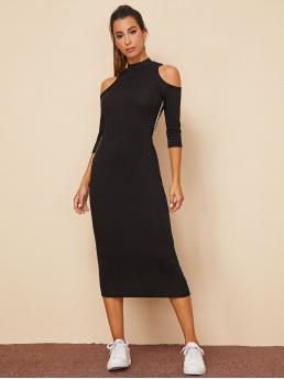 Sporty Bodycon Letter Pencil Slim Fit Stand Collar Three Quarter Length Sleeve Regular Sleeve Natural Black Long Length Letter Tape Side Cold Shoulder Rib-knit Dress