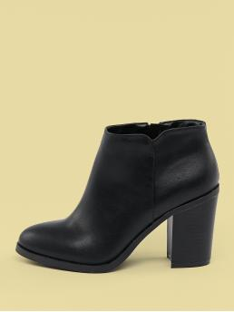 Glamorous Other Plain Side zipper Black High Heel Chunky Almond Toe Side Zip Stacked Heel Booties