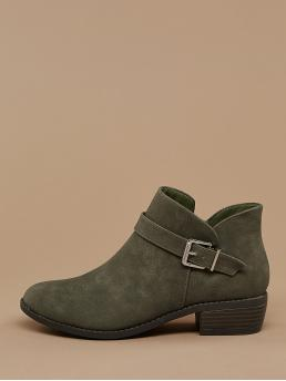 Comfort Other Plain Side zipper Green Low Heel Chunky Almond Toe Buckle Accent Block Heel Ankle Boots