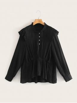 Casual Plain Asymmetrical Shirt Regular Fit Stand Collar Long Sleeve Regular Sleeve Half Placket Black Regular Length Solid Frill Neck Button Up Blouse