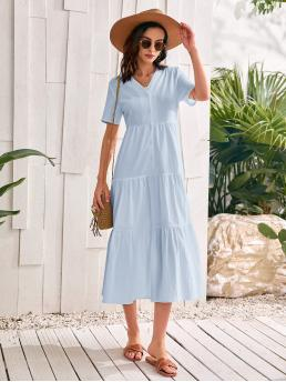 Affordable Baby Blue Plain Button Front V Neck Solid Button up Dress