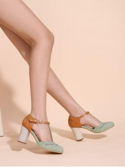 Mint Green Court Pumps Low Heel Chunky T-strap Pumps Discount