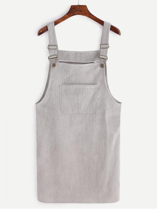 Preppy Pinafore Plain Straight Loose Straps Sleeveless Natural Grey Short Length Front Pocket Corduroy Overall Dress
