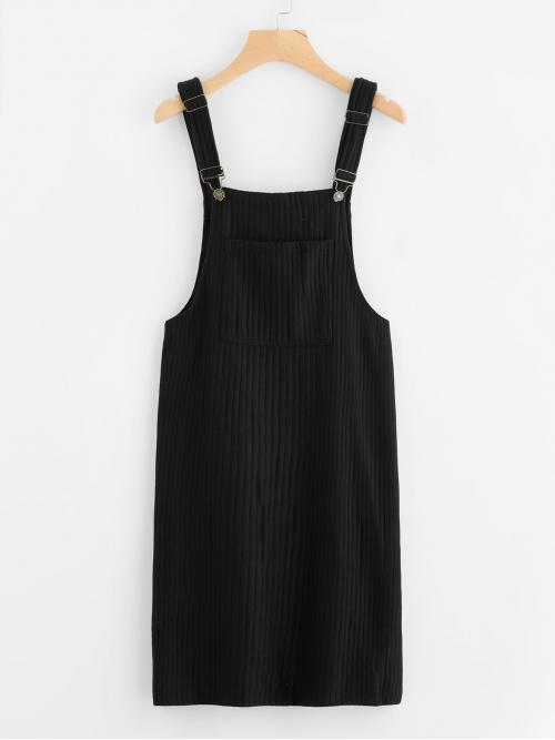 Clearance Black Plain Pocket Straps Bib Knitted Overall Dress