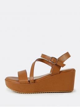 Corduroy Brown Mules Bow Cross Ankle Band Wedge Sandal Camel Sale