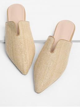 Womens Corduroy Apricot Mules Bow Pointed Toe Woven Mule Flats