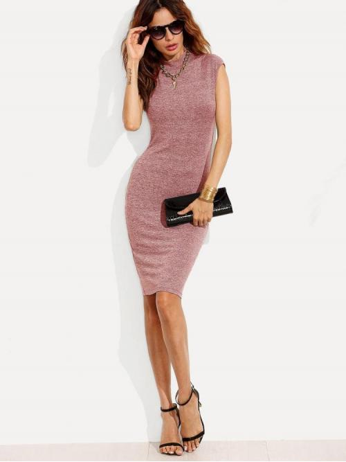 Pink Plain Belted Stand Collar Form Fitting Marled Knit Dress on Sale