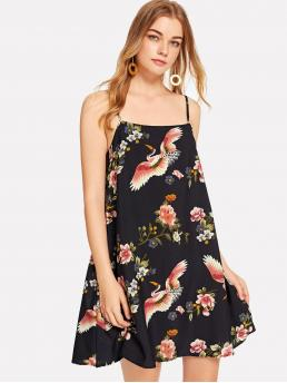 Boho Cami Floral and Animal Spaghetti Strap Sleeveless Natural Multicolor Short Length Crane Bird & Flower Print Cami Dress