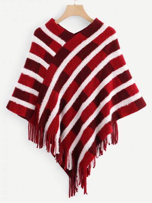 Beautiful Long Sleeve Poncho Fringe Rayon Detail Sweater
