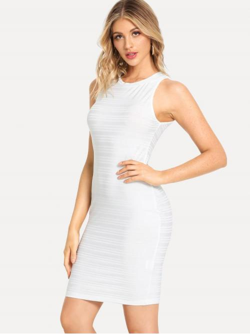 White Plain Wrap Round Neck Form Fitted Solid Shell Dress Ladies