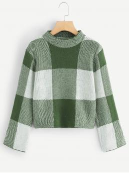 Casual Colorblock Plaid Pullovers Regular Fit Stand Collar Long Sleeve Pullovers Green Crop Length Mock Neck Color Block Sweater