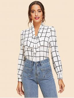 Long Sleeve Top Contrast Mesh Satin Grid Blouse on Sale